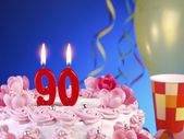 Birthday cake with red candles showing Nr. 90 — Stock Photo