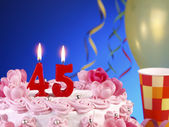 Birthday cake with red candles showing Nr. 45 — Stock Photo