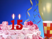 Birthday cake with red candles showing Nr. 15 — Stock Photo