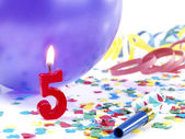 Birthday candles showing Nr. 5 — Stock Photo