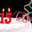 Birthday cake with red candles showing Nr. 15 — Stock Photo #13703140