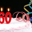 Birthday cake with red candles showing Nr. 60 — Stock Photo