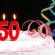 Birthday cake with red candles showing Nr. 50 — Stock Photo #13703372