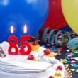 Birthday cake with red candles showing Nr. 85 — Stock Photo