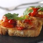 Montadito de Esgarraet - Red pepper and cod on Bread — Stock Photo #13708730