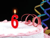 Birthday cake with red candles showing Nr. 6 — Stock Photo