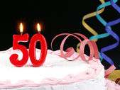 Birthday cake with red candles showing Nr. 50 — Stock Photo