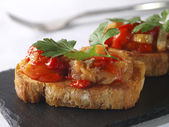 Montadito de Esgarraet - Red pepper and cod on Bread — Stock Photo