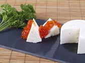 Fresh cheese & Tomato marmalade tapas — Stock Photo