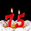 Birthday cake with red candles showing Nr. 75 — Stock Photo #13753260