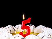 Birthday cake with red candles showing Nr. 5 — Stock Photo