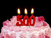 Birthday cake with red candles showing Nr. 500 — Stock Photo