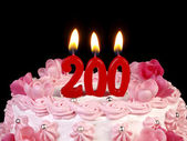 Birthday cake with red candles showing Nr. 200 — Stock Photo