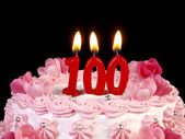 Birthday cake with red candles showing Nr. 100 — Stock Photo