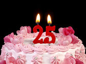 Birthday cake with red candles showing Nr. 25 — Stock Photo