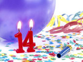 Birthday candles showing Nr. 14 — Stock Photo