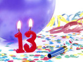 Birthday candles showing Nr. 13 — Stock Photo