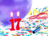Birthday candles showing Nr. 17 — Stock Photo