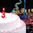 Birthday cake with red candles showing Nr. 3 — Stock Photo #13809548