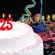 Birthday cake with red candles showing Nr. 25 - Stock Photo