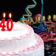 Birthday cake with red candles showing Nr. 40 — Stock Photo