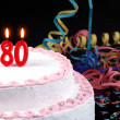 Birthday cake with red candles showing Nr. 80 — Stock Photo