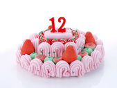 Birthday cake with red candles showing Nr. 12 — Stock Photo