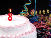 Birthday cake with red candles showing Nr. 8 — Stock Photo