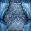 Old style room with blue curtains — Stock Photo