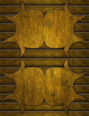 Old wooden planks wall with carved ornament — Stock Photo