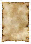 Old paper sheet with stains isolated on white — Stock Photo