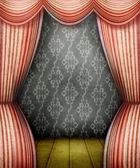 Old style room with red curtains — Stock Photo
