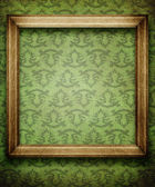 Old frame on wallpaper with vintage pattern — Photo