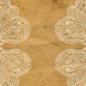 Ornate grunge paper frame (beige vintage greetings) — Stock Photo
