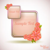 Abstract background with glass frame and flowers — Stockvektor