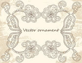 Ornate vector frame (beige vintage greetings) — Stockvektor
