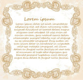 Ornate vector frame (beige vintage greetings) — Stockvector
