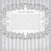 Ornate vector frame. Vintage design for Valentine's Day — ストックベクタ
