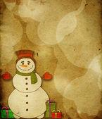 Merry christmas card med snögubbe — Stockfoto