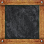 Black Empty Blackboard with Wooden Frame — Stock Photo