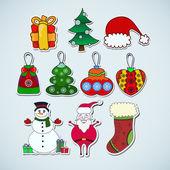 рождественские наклейки значок — Cтоковый вектор
