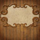 木墙上的帧 — 图库照片