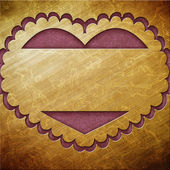 Valentine's day gold frame with hearts — Stockfoto