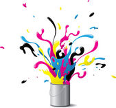 Explosive CMYK paint — Stock Vector
