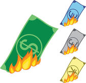 Burning money — Stock Vector