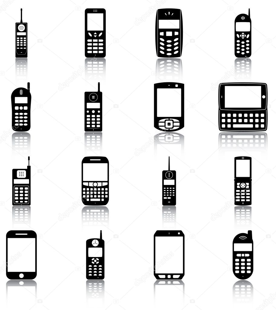 16 icons/ silhouettes of modern and retro mobile phones. — Stock Vector #13557620