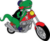 T-Rex on a motorcycle — Stock Vector