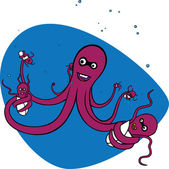 Octopus and its babies — Stock Vector