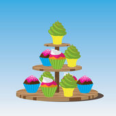 Cupcake stand — Stock Vector