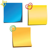 Sticky notes with paperclips — Stock Vector